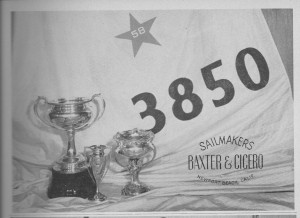 Bill Ficker's 1958 Star World Championship Trophy and his Baxter and Cicero sail