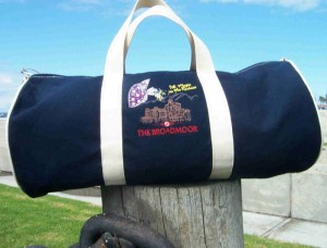 duffel embroidered with custom artwork