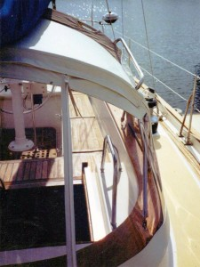 sailboat dodger from astern
