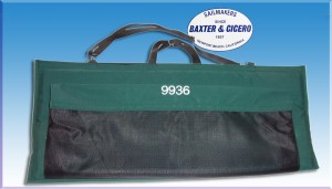 Padded Sunbrella bag for dinghy rudder and centerboard